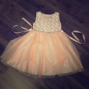 Little Girls Orange Formal Dress